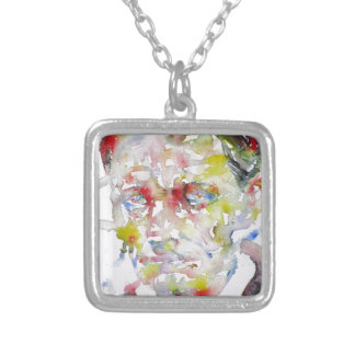 CHARLES BAUDELAIRE - watercolor portrait.3 Silver Plated Necklace