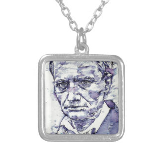CHARLES BAUDELAIRE - watercolor portrait.4 Silver Plated Necklace