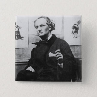 Charles Baudelaire  with Engravings, c.1863 2 Inch Square Button