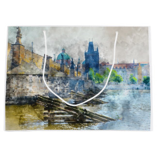 Charles Bridge in Prague Czech Rebulic Large Gift Bag