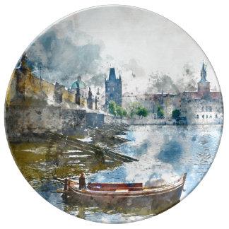 Charles Bridge in Prague Czech Rebulic Plate