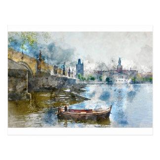 Charles Bridge in Prague Czech Rebulic Postcard