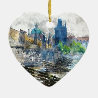 Charles Bridge in Prague Czech Republic Ceramic Heart Ornament