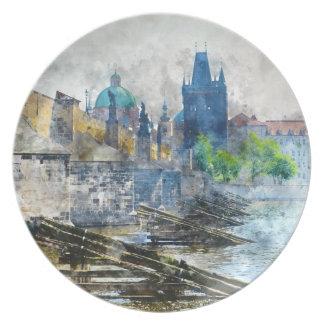 Charles Bridge in Prague Czech Republic Dinner Plate