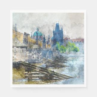 Charles Bridge in Prague Czech Republic Paper Napkins