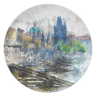 Charles Bridge in Prague Czech Republic Plate