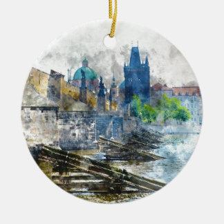 Charles Bridge in Prague Czech Republic Round Ceramic Ornament