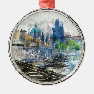 Charles Bridge in Prague Czech Republic Silver-Colored Round Ornament