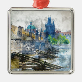 Charles Bridge in Prague Czech Republic Silver-Colored Square Ornament