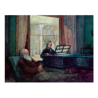 Charles Darwin and his wife at the Piano Postcard