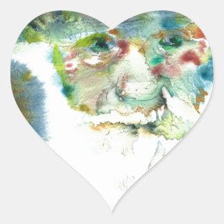 CHARLES DARWIN - watercolor portrait.2 Heart Sticker