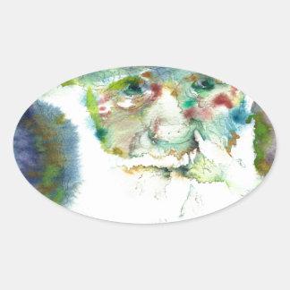 CHARLES DARWIN - watercolor portrait.2 Oval Sticker