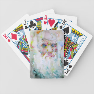 charles darwin - watercolor portrait bicycle playing cards