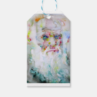 charles darwin - watercolor portrait gift tags