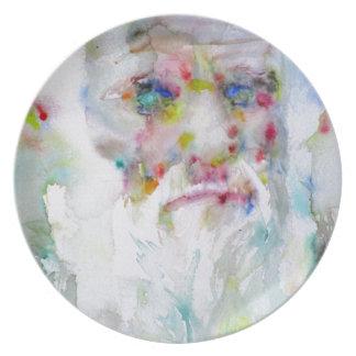 charles darwin - watercolor portrait plate