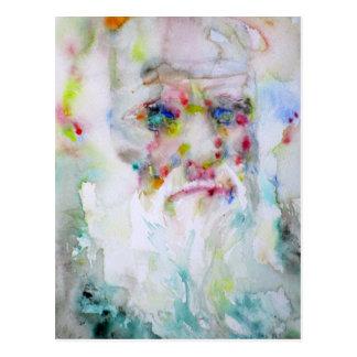 charles darwin - watercolor portrait postcard