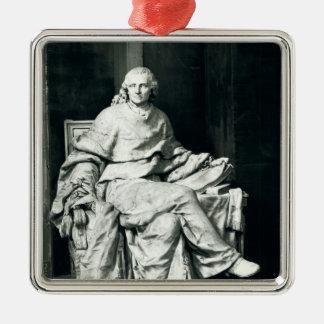 Charles de Secondat  Baron de Montesquieu, 1779 Silver-Colored Square Ornament