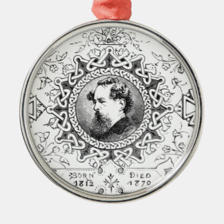 Charles Dickens banner famous novelist Silver-Colored Round Ornament