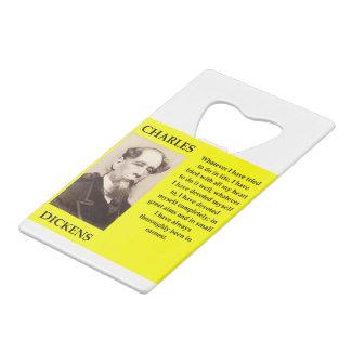 charles dickens credit card bottle opener
