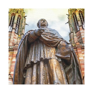 Charles-Emile Freppel statue, Obernai, France Canvas Print