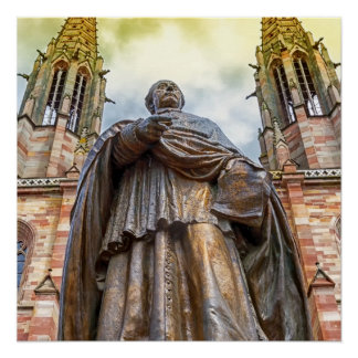 Charles-Emile Freppel statue, Obernai, France Perfect Poster