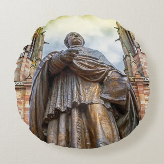 Charles-Emile Freppel statue, Obernai, France Round Pillow