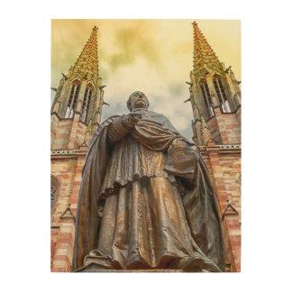 Charles-Emile Freppel statue, Obernai, France Wood Print