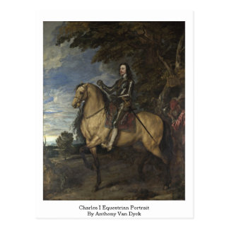Charles I Equestrian Portrait By Anthony Van Dyck Postcard