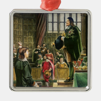 Charles I in the House of Commons Silver-Colored Square Ornament