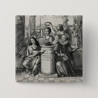 Charles II (1630-85) as Patron of the Royal Societ 2 Inch Square Button