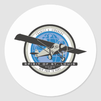 Charles Linberg Historic Flight Classic Round Sticker