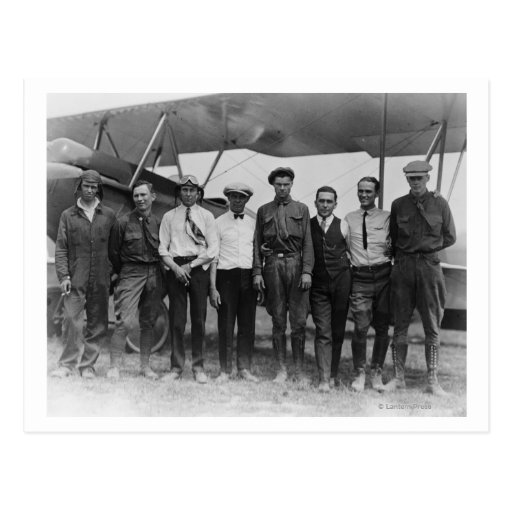 Charles Lindbergh with 7 men, including Postcard