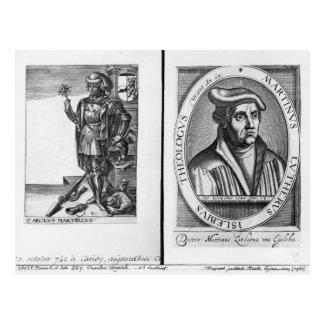 Charles Martel  and Martin Luther Postcard