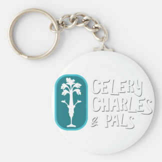 'Charles & Pals' White Button Keychain