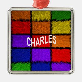 CHARLES Silver-Colored SQUARE ORNAMENT