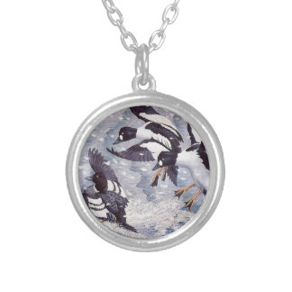 Charles Tunnicliffe Goldeneyes  Ducks Silver Plated Necklace