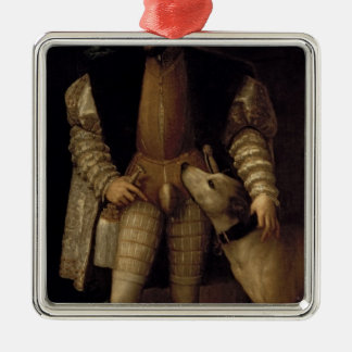 Charles V Silver-Colored Square Ornament