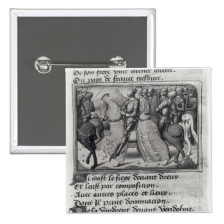 Charles VII  and Joan of Arc at the Siege of 2 Inch Square Button