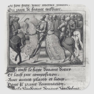 Charles VII  and Joan of Arc at the Siege of Square Sticker