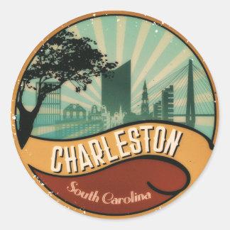 Charleston City Skyline Retro Vintage Sticker