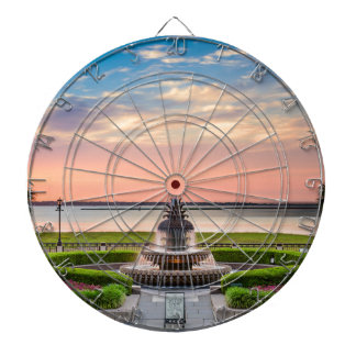 Charleston SC Pineapple Fountain Sunrise Dartboard