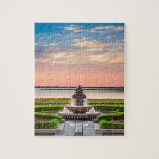 Charleston SC Pineapple Fountain Sunrise Jigsaw Puzzle