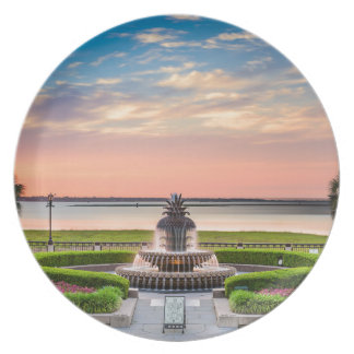 Charleston SC Pineapple Fountain Sunrise Plate