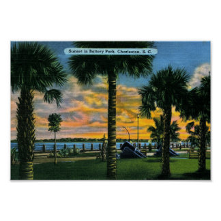 Charleston, South Carolina, Battery Park, Vintage Poster