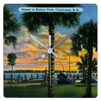 Charleston, South Carolina, Battery Park, Vintage Square Wall Clock