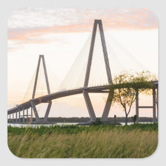 Charleston South Carolina Bridge - Cooper River Square Sticker