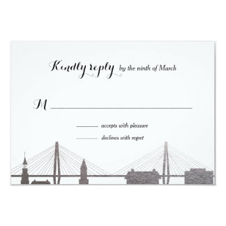 Charleston South Carolina Faux Silver Rsvp Card