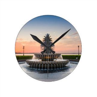 Charleston South Carolina Pineapple Fountain Round Clock