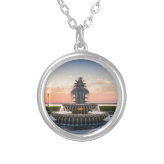 Charleston South Carolina Pineapple Fountain Silver Plated Necklace