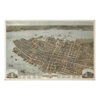 Charleston, South Carolina Vintage Map Poster